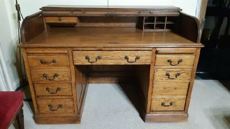 Ornate solid oak roll top desk