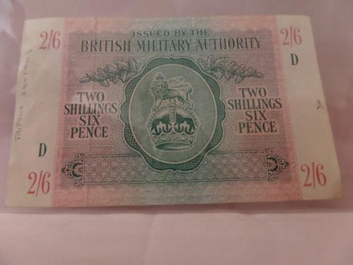 Issued by the british military authority two shillings six