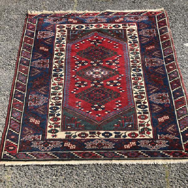 Vintage lightly worn hand knotted pure wool iranian khorasan