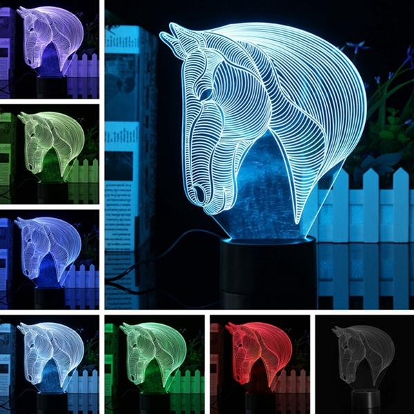 3d art horse head 7 color changing bulding led night lamp