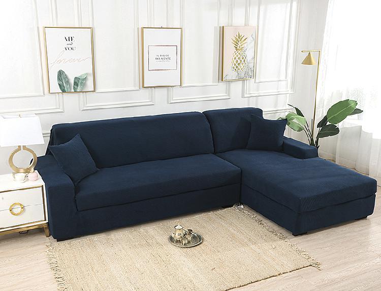 Dark blue stretch elastic sofa cover solid non slip soft