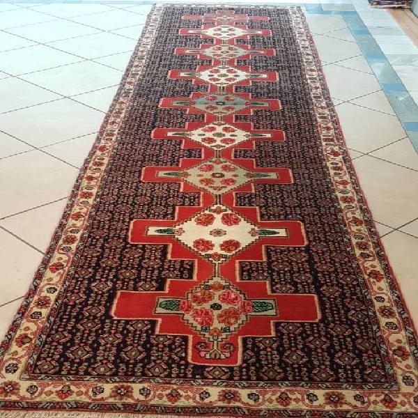 Persian carpet senneh runner thick pile 380cm x 90cm hand