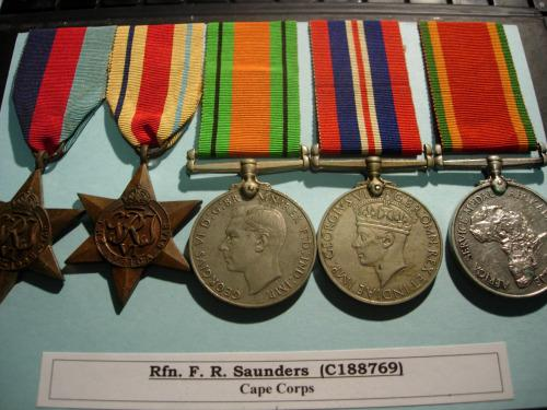 South african ww2 group of five medals - named