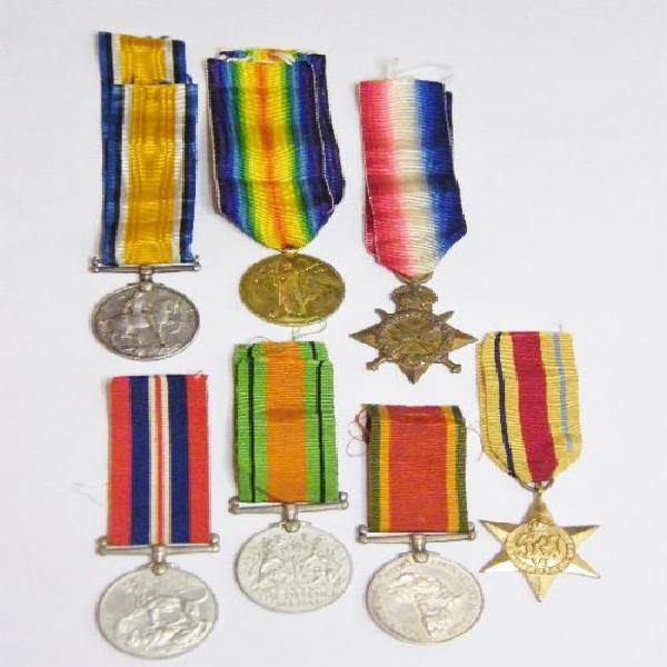 Set of ww1 & ww2 medals issued to van der berg father & son