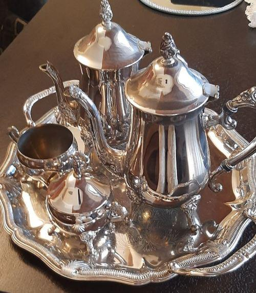 Teaset silver plated teapot, coffee pot, sugar bowl and milk