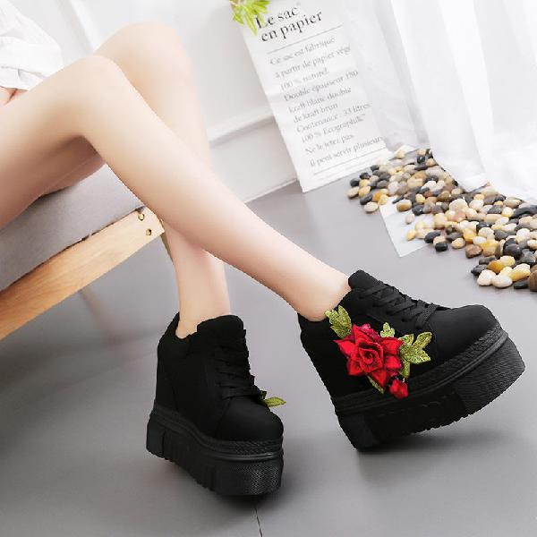 Fashion women shoes female embroidered rose climbing