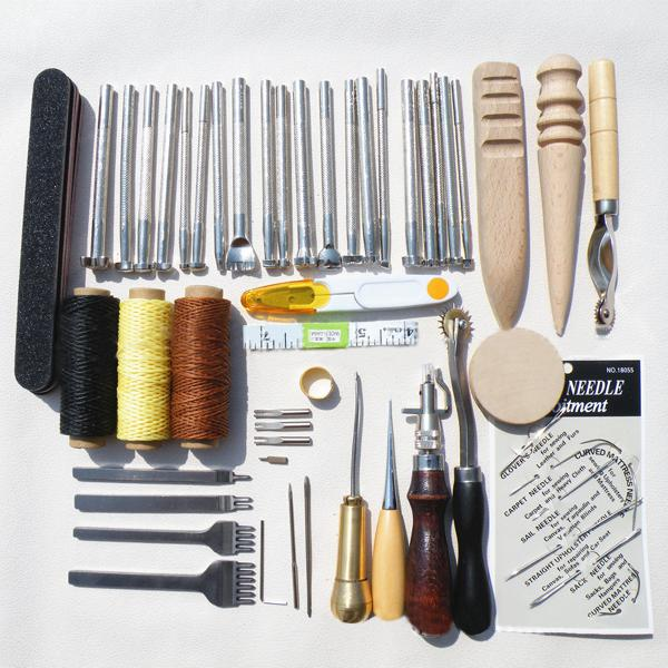 59pcs diy leather tools kit hand stitching sewing punch