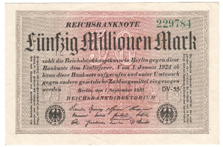 Germany reichsbanknote 50 millionen mark 1923