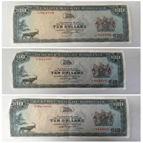 In sequence 3 x unc 2nd jan 1979 rhodesia $10 - 10 dollar