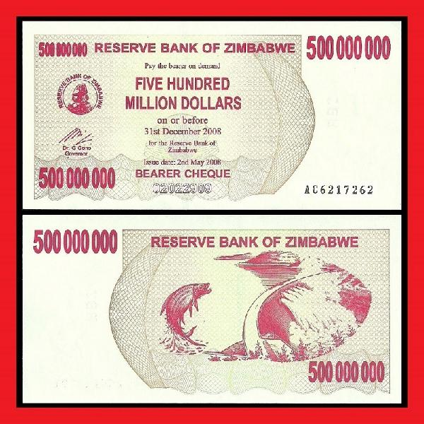 Zimbabwe uncirculated 500 million dollar bearer cheque