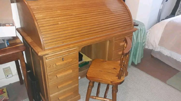 Oak roll top desk
