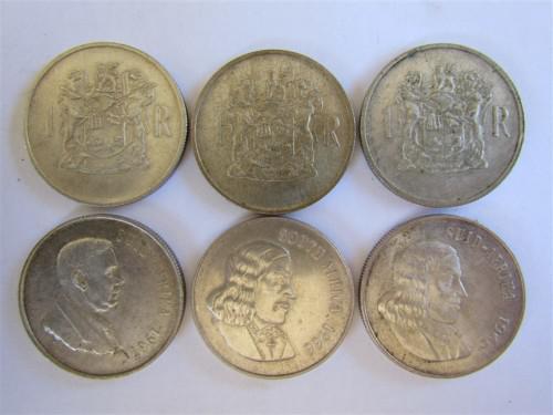 6 x silver 80% 1 rand coins 1969 x3;1966 x2;1967 x1**r1