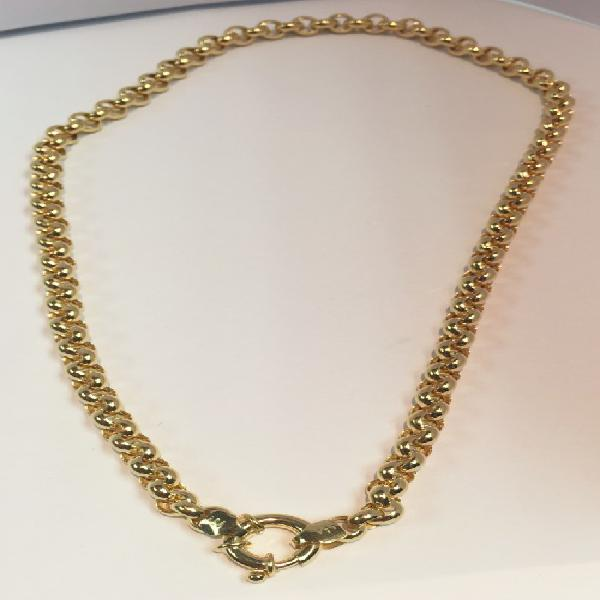 9 carat - imported gold belcher necklace cm 45 - mm 5.4 wide