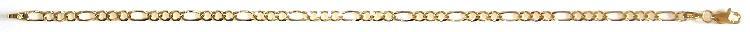 9k / 9ct gold bracelet: 3+1 figaro larga, 3.2mm wide, 19cm.