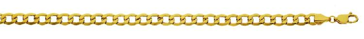 9k / 9ct gold hollow curb bracelet: 5.1mm wide, 21cm