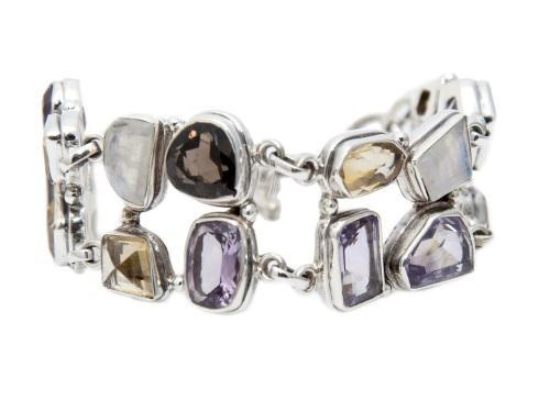 Assorted gemstones bracelet - set in 925 silver