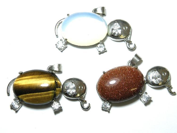 Assorted gemstone elephant pendant 30mm inc bail - silver