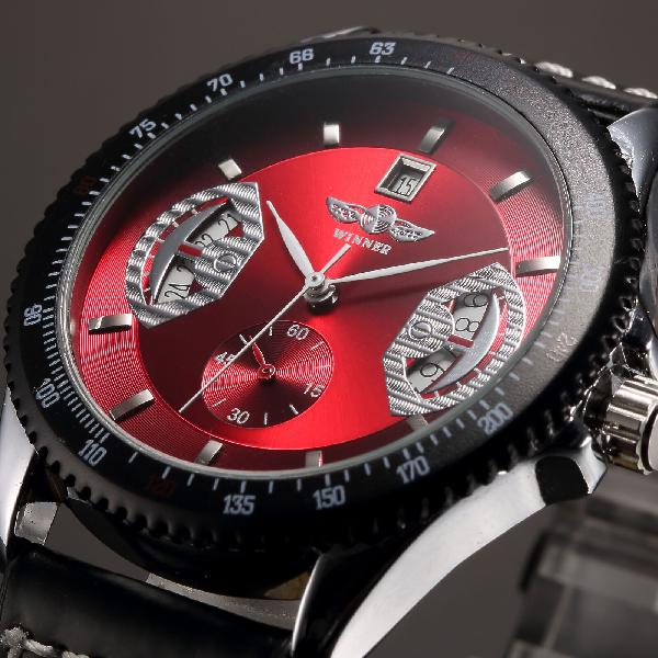 Classic mens automatic mechanical self-winding date brown