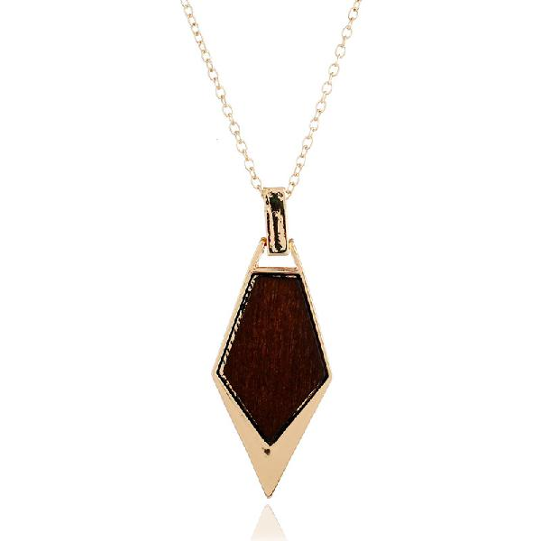 Fashion geometric long necklace simple wood gold chain