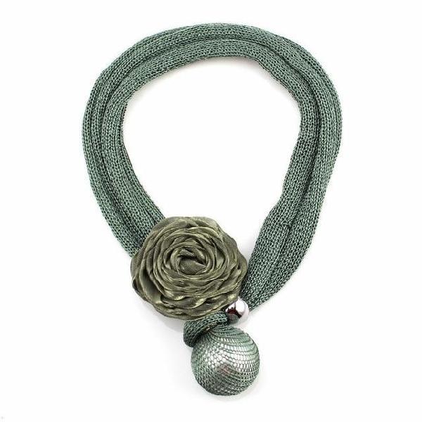 Florosy bib rope chain handmade statement big flower pendant
