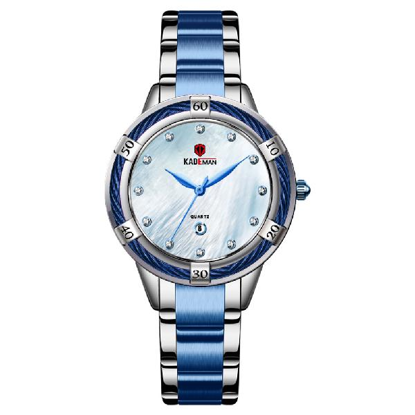 Kademan 9074l fashion crystal dial date display women watch