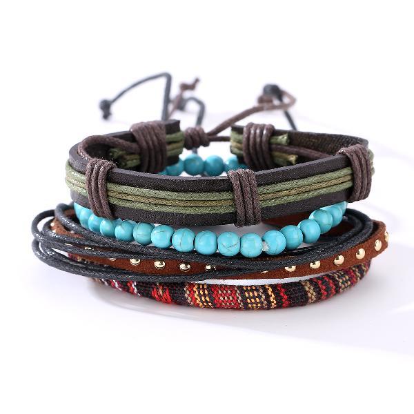 Punk multilayer bracelets adjustable woven beads leather