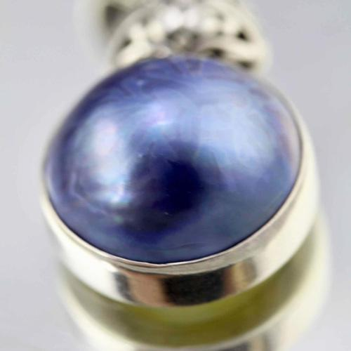 Doublew-jewels real blue iridescent mabe pearl sterling