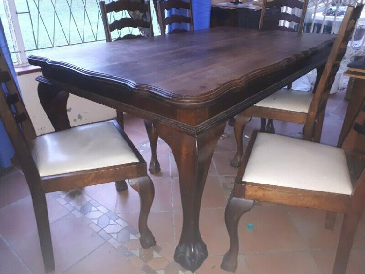 Embuia ball and claw 6 chair dining room table and side