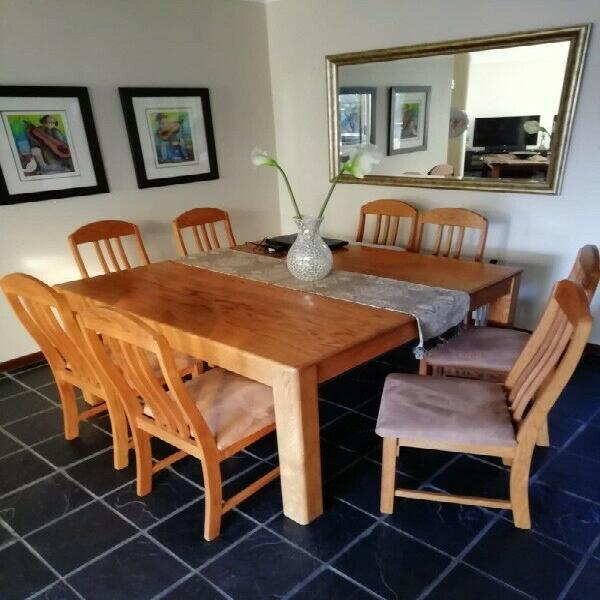 Furniture - dinning room table and chairs - solid red wood