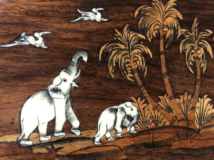 Vintage wood-inlay wall decor for sale - r150