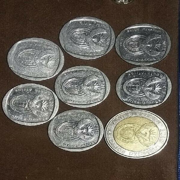 2019 Mandela coin R5 &R2×2 2014 Mandela coin R2 ×2 2013