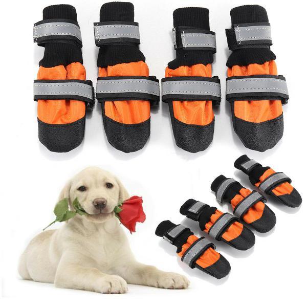 4pcs pet dog rain snow boots warm shoe anti-slip footwear