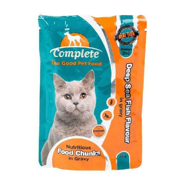 Complete cat pouches 85g deep sea fish in gravy - complete