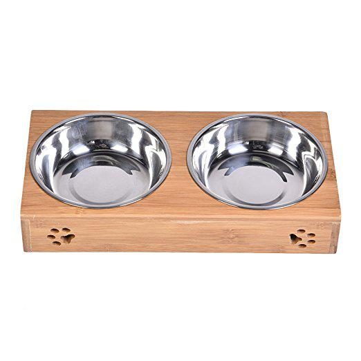 Double pet dog bowl stainless steel pet bowl bamboo bottom