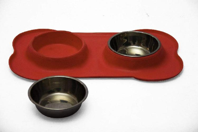 Non-slip silicone double stainless steel bowl pet feeder -