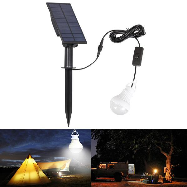 Portable solar panel power led bulb waterproof light sensor