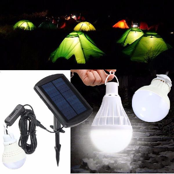 Portable solar panel power sensor led bulb light outdoor