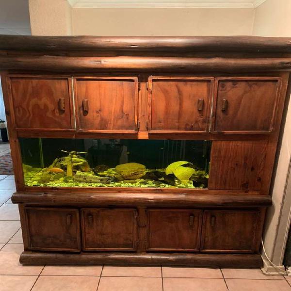 Rustic cupboard with large fish tank