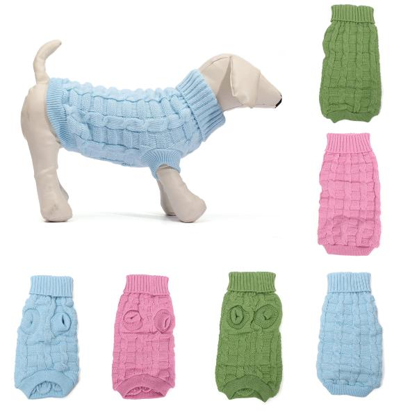 Solid color pet dog cat knitted breathable warm sweater