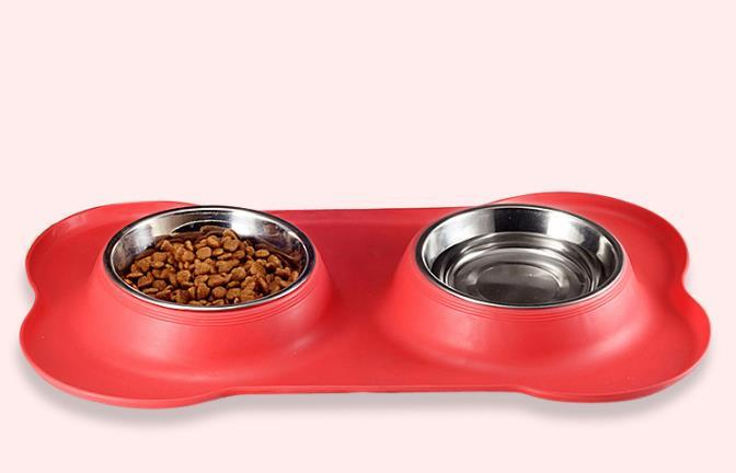 Stainless steel pet bowl with non-skid silicone mat feeder