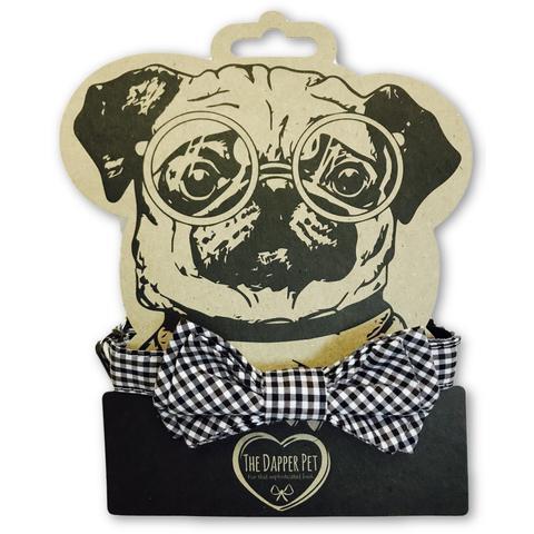 The dapper pet black checkered bow tie dog collar - s