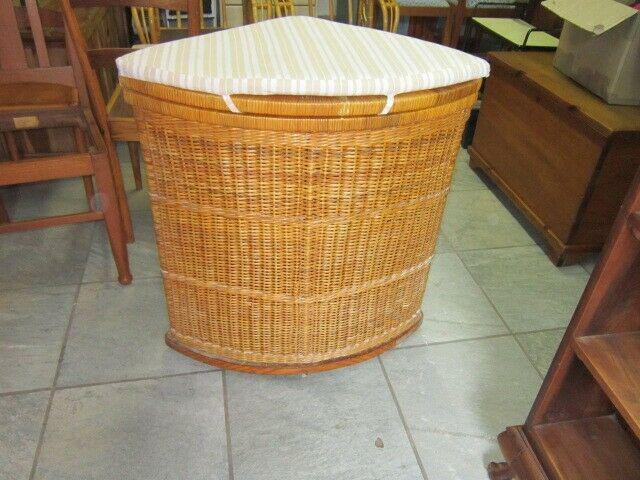 Cane corner laundry basket