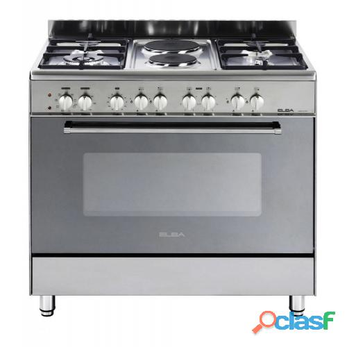 Elba 900mm 4 gas burner 2 plate stove stainless steel   01/9cx727