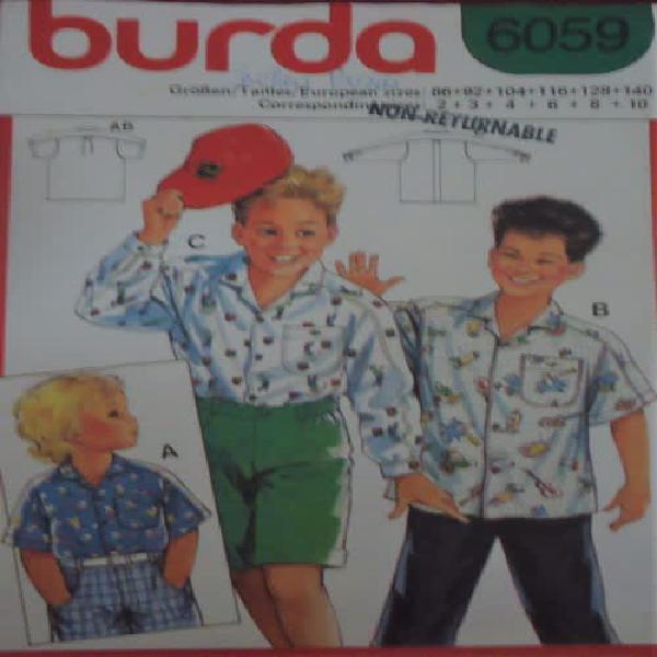 Burda patterns 6059 boys long & short sleeve shirt sizes 2 +