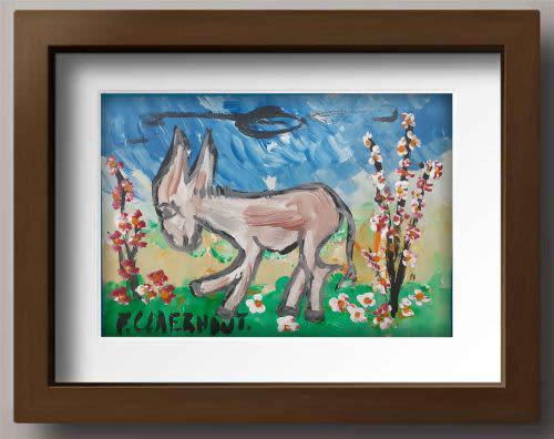 Frans claerhout - donkey - acrylic on cardboard, stunning!!!