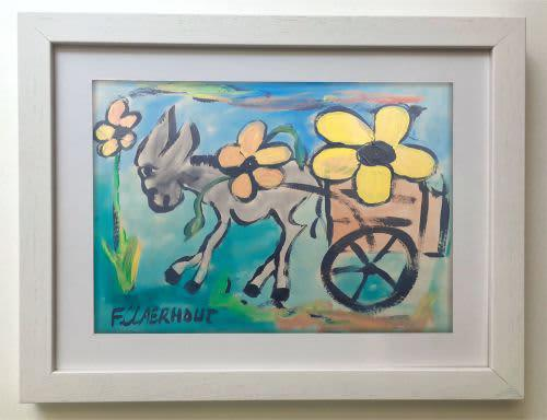 Frans claerhout - donkey with cart - massive acrylic on