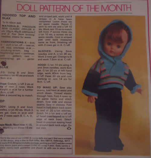Living & loving july 1980 - hooded top & slax - 43 cm doll