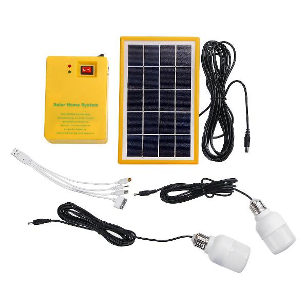 Solar panel generator system portable home kit led light usb