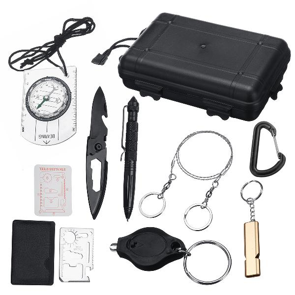 9 in 1 sos kit outdoor emergency equipment box for camping