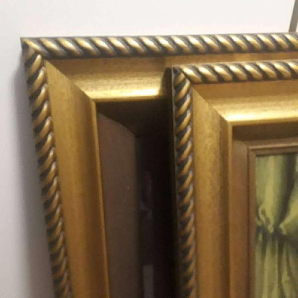 2 gilded frames with prints in glass. 80x60cm. Very good